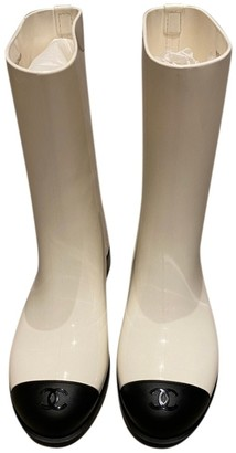 Chanel White Rubber Boots