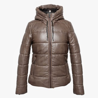 Oakwood Mary Jessie Brown Leather Hooded Padded Bomber Jacket