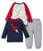 Little Me Baby Boy's Three-Piece Space Rocket Cotton Top and Sweatpants