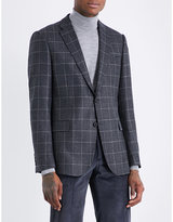 Armani Collezioni Checked M-line wool and cashmere-blend jacket