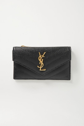 Saint Laurent Monogram Quilted Textured-leather Wallet - Black