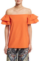 Alice + Olivia Loryn Off-the-Shoulder Ruffle-Sleeve Blouse, Orange