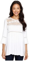 Karen Kane Crochet Trim Top Women's Clothing