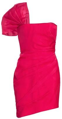 HANEY One-Shoulder Organza Cocktail Dress
