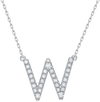 Lab Grown Diamond 'W' Letter Initial Necklace, 1/4 Ctw 10K Solid Gold by Smiling Rocks