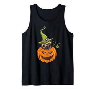 Pumpkin Pug Dog Witch Hat Halloween Girls