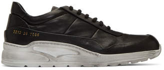 Common Projects Black and White Leather Cross Trainer Sneakers
