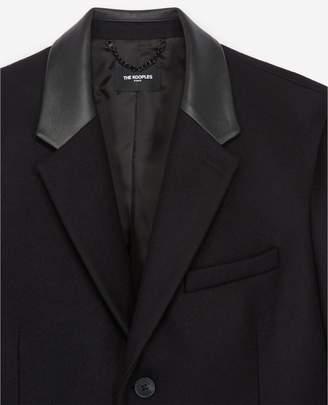 The Kooples Long black wool coat w/leather lapel collar