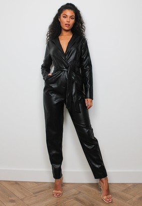 Missguided Tall Black Faux Leather Tie Tux Jumpsuit
