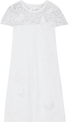 Valentino Appliqued Corded Lace-paneled Ponte Mini Dress