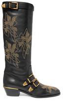 Chloé Susanna Studded Leather Knee Boots - Black