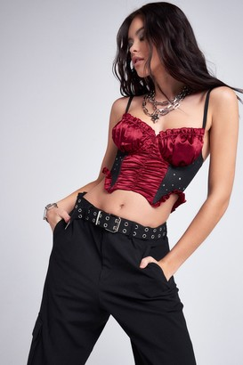 Jaded London Womens **Red Satin Corset Top By Red