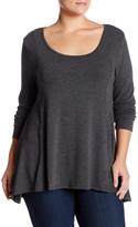 Adrienne Vittadini Long Sleeve Hi-Lo Tee (Plus Size)