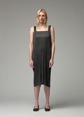 Pleats Please Issey Miyake Women's Sleeveless Shiny Stripes Dress in Black Size 3 100% Polyester