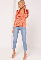 Missguided Satin Double Breasted Blouse Orange