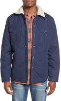 Lucky Brand Men's Quilted Shirt Jacket With Faux Shearling Collar