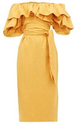 Mara Hoffman Arabella Ruffled Off-the-shoulder Dress - Womens - Yellow