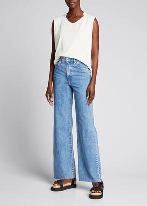 SLVRLAKE Grace Wide-Leg Raw-Edge Jeans
