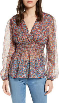 Chelsea28 Floral Smocked Blouse