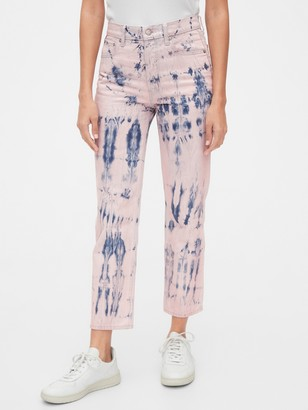 Gap High Rise Tie-Dye Cheeky Straight Jeans