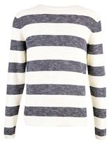 Burton Burton Only And Sons White Striped Crew Neck Jumper*