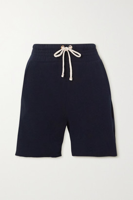 LES TIEN Yacht Frayed Cotton-jersey Shorts - Navy