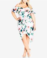 City Chic Trendy Plus Size Off-The-Shoulder Faux-Wrap Dress