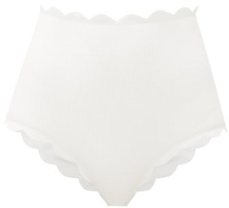 Marysia Swim Santa Monica Scallop-edged Bikini Briefs - White