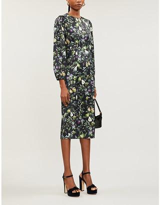 NEVER FULLY DRESSED Agnes fruit-print satin midi dress