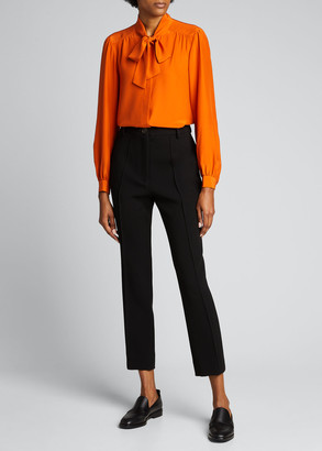 Lafayette 148 New York Cecile Tie-Neck Matte Silk Blouse