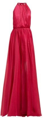 Maria Lucia Hohan Eslem Halterneck Silk-mousseline Dress - Womens - Pink