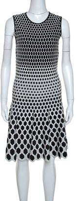 Alexander McQueen Monochrome Honeycomb Pattern Stretch Knit Dress L
