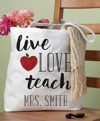 Personalized Planet Totebags - White Canvas 'Live, Love, Teach' Personalized Tote Bag