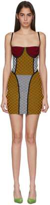 Paolina Russo SSENSE Exclusive Yellow and White Check Illusion Knit Mini Dress