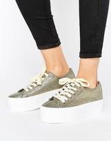 Sixty Seven SixtySeven Sixtyseven Flatform Metallic LaceUp Sneaker