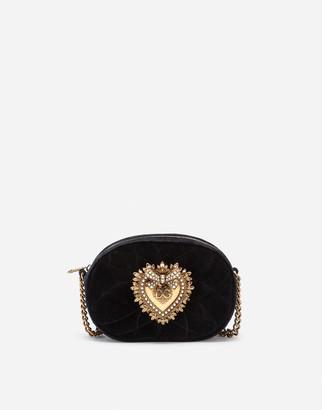 Dolce & Gabbana Devotion Camera Bag In Quilted Smooth Velvet