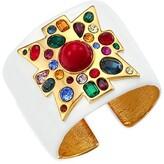 Thumbnail for your product : Kenneth Jay Lane 22K Goldplated, White Enamel & Multi-Stone Maltese Cross Wide Cuff Bracelet