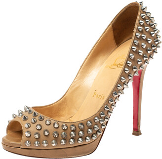 Christian Louboutin Beige Leather Yolanda Spikes Peep Toe Pumps Size 36.5