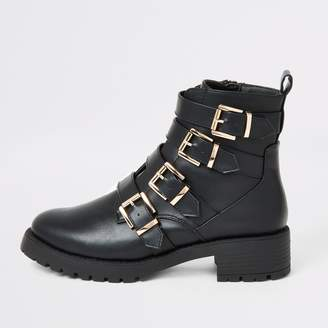 River Island Womens Black buckle strap chunky ankle boots