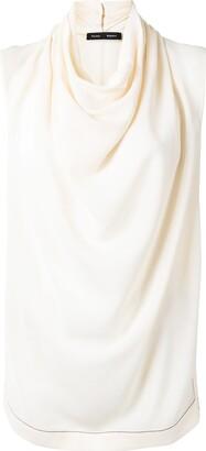 Proenza Schouler Cowl Neck Drape Detail Blouse