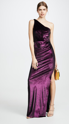 Marchesa One Shoulder Draped Gown