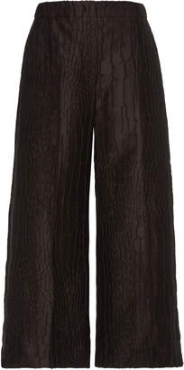 Max Mara Pernice Cropped Jacquard Wide-Leg Pants