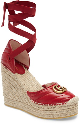 Gucci Palmyra Ankle Tie Espadrille Wedge