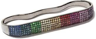 As 29 AS29 18kt black gold Lana Rainbow sapphire three-finger ring