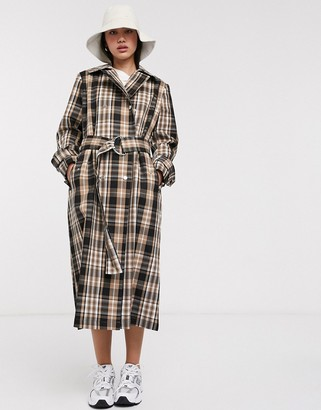 InWear Jojo trench coat in brown check