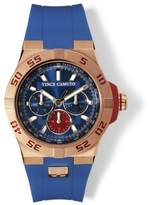Vince Camuto The Master Blue & Rose Goldtone Silicone Watch