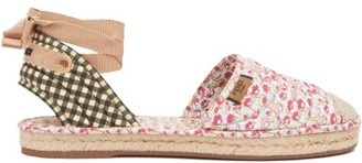 Fendi Quilted Floral-print & Gingham Canvas Espadrilles - Pink Multi