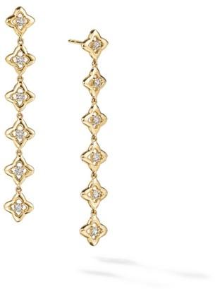 David Yurman Long Drop Earrings In 18K Yellow Gold With Diamonds
