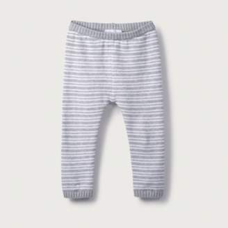 The White Company Stripe Knitted Leggings, Grey Marl/White, 12-18mths