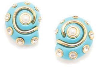 Kenneth Jay Lane Faux Resin Turquoise Snail Shell Clip On Earrings with Pearls & Crystals